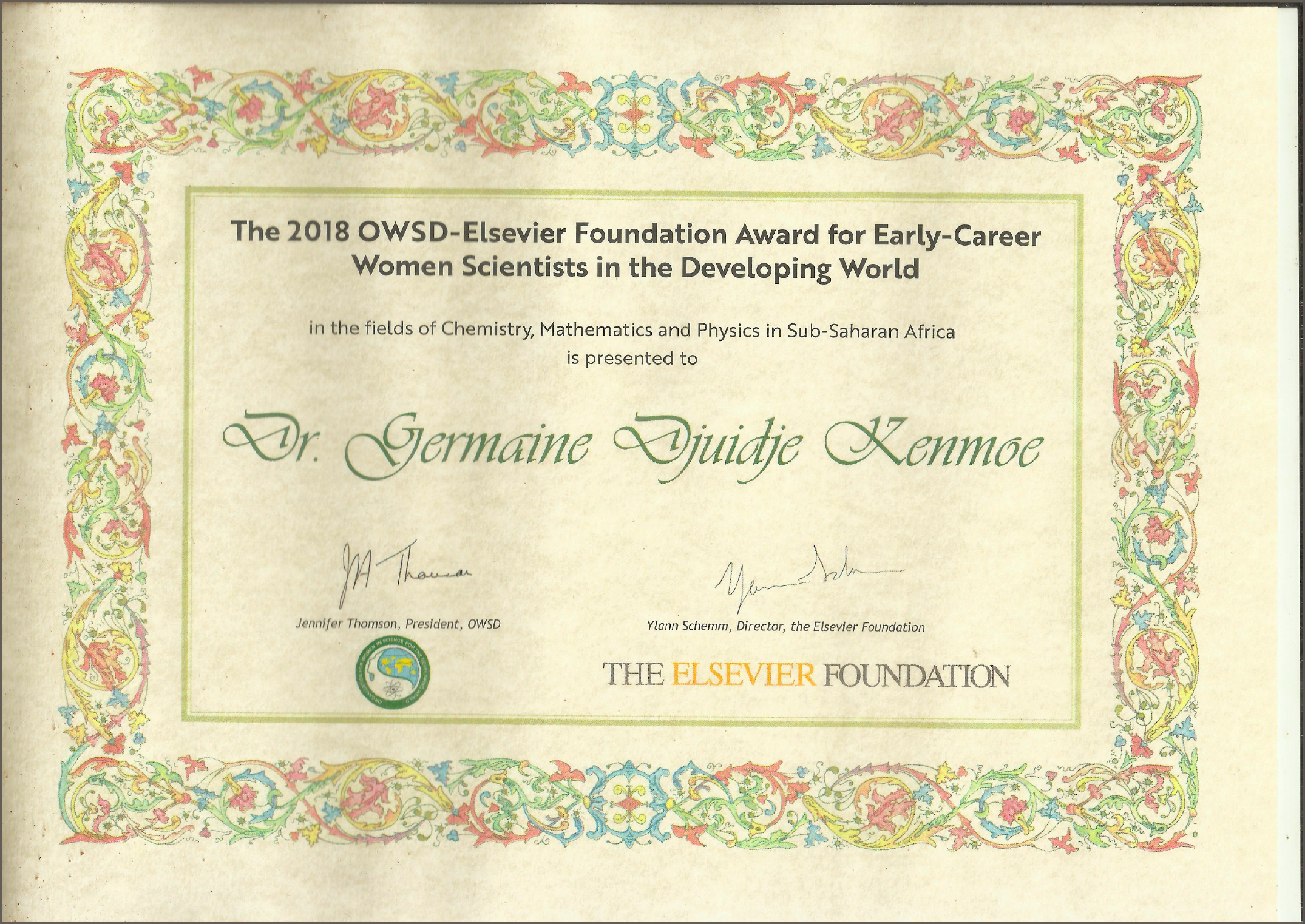 2018 OWSD-Elsevier Foundation Awards for Women in Science, DJUIDJE KENMOE GERMAINE,  Ph.D.