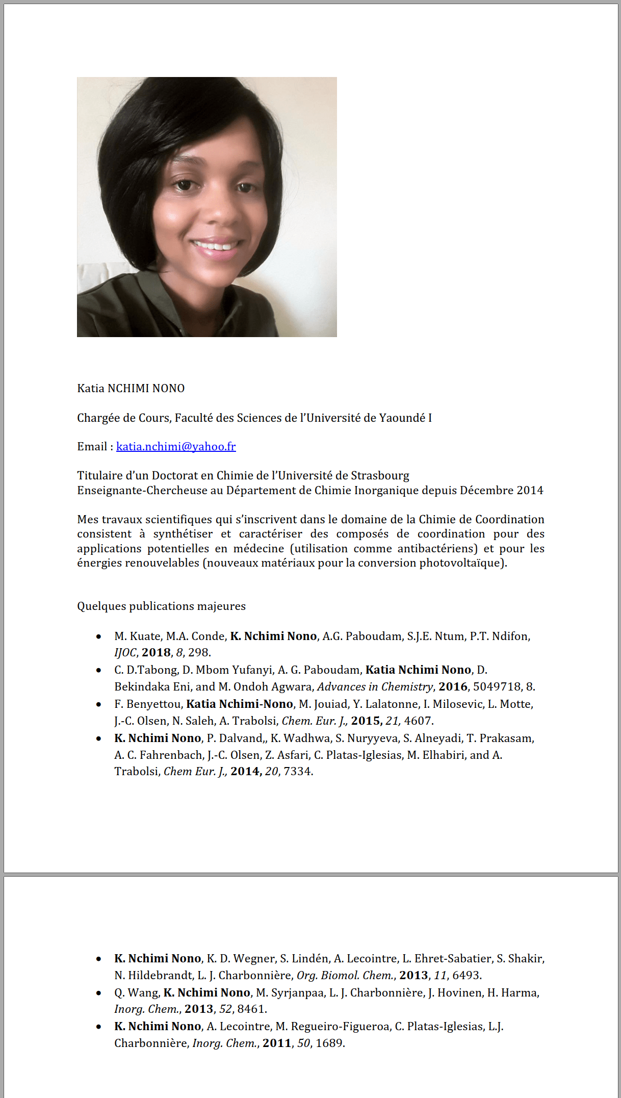 katia nchimi nono  u2013 faculty of sciences