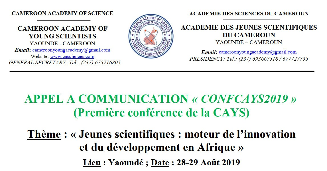 "CALL FOR COMMUNICATION ""CONFCAYS2019"" (First conference of CAYS)"