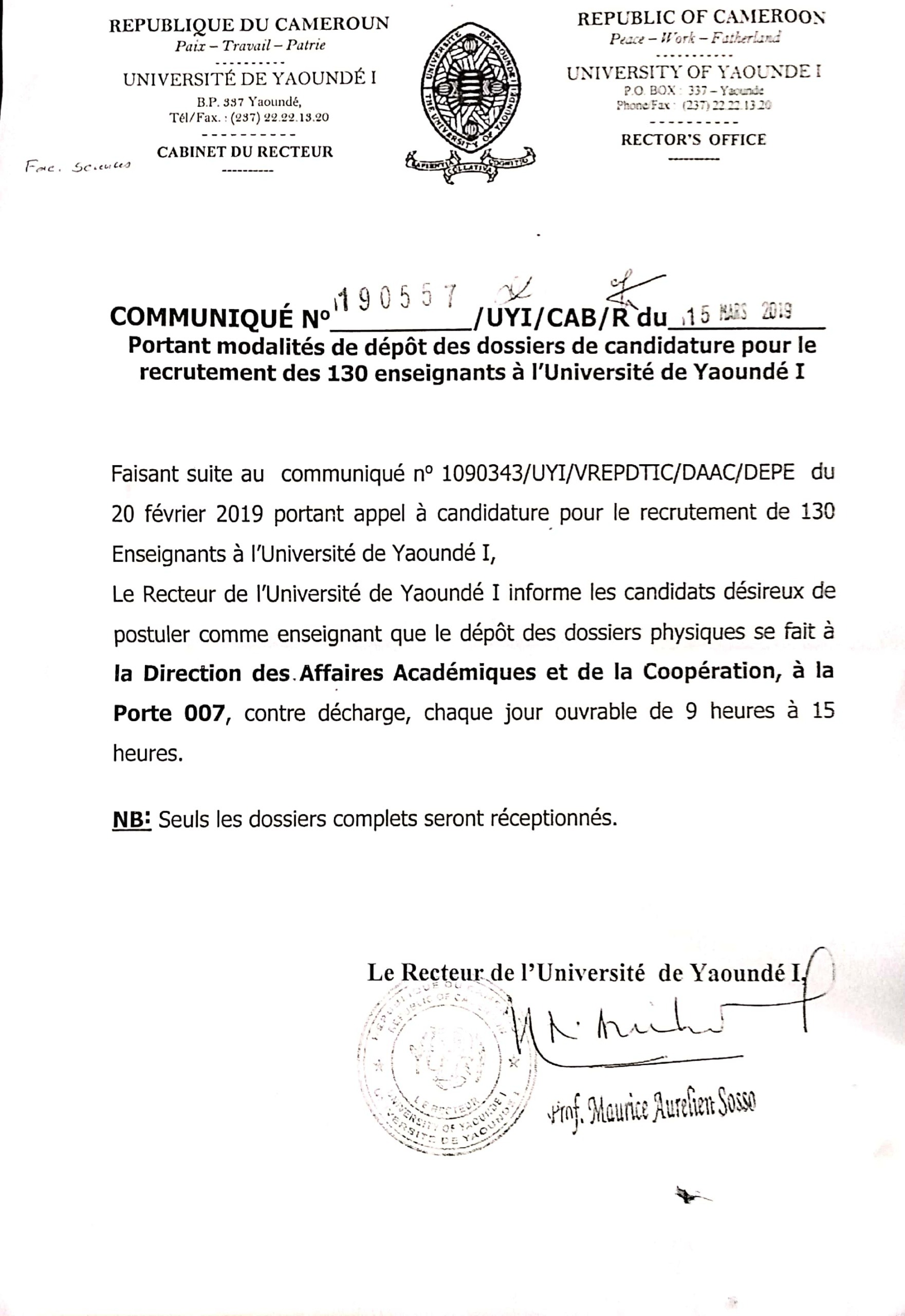 Press release concerning the filing modality of applications for the recruitment of 130 teachers at the University of Yaoundé I