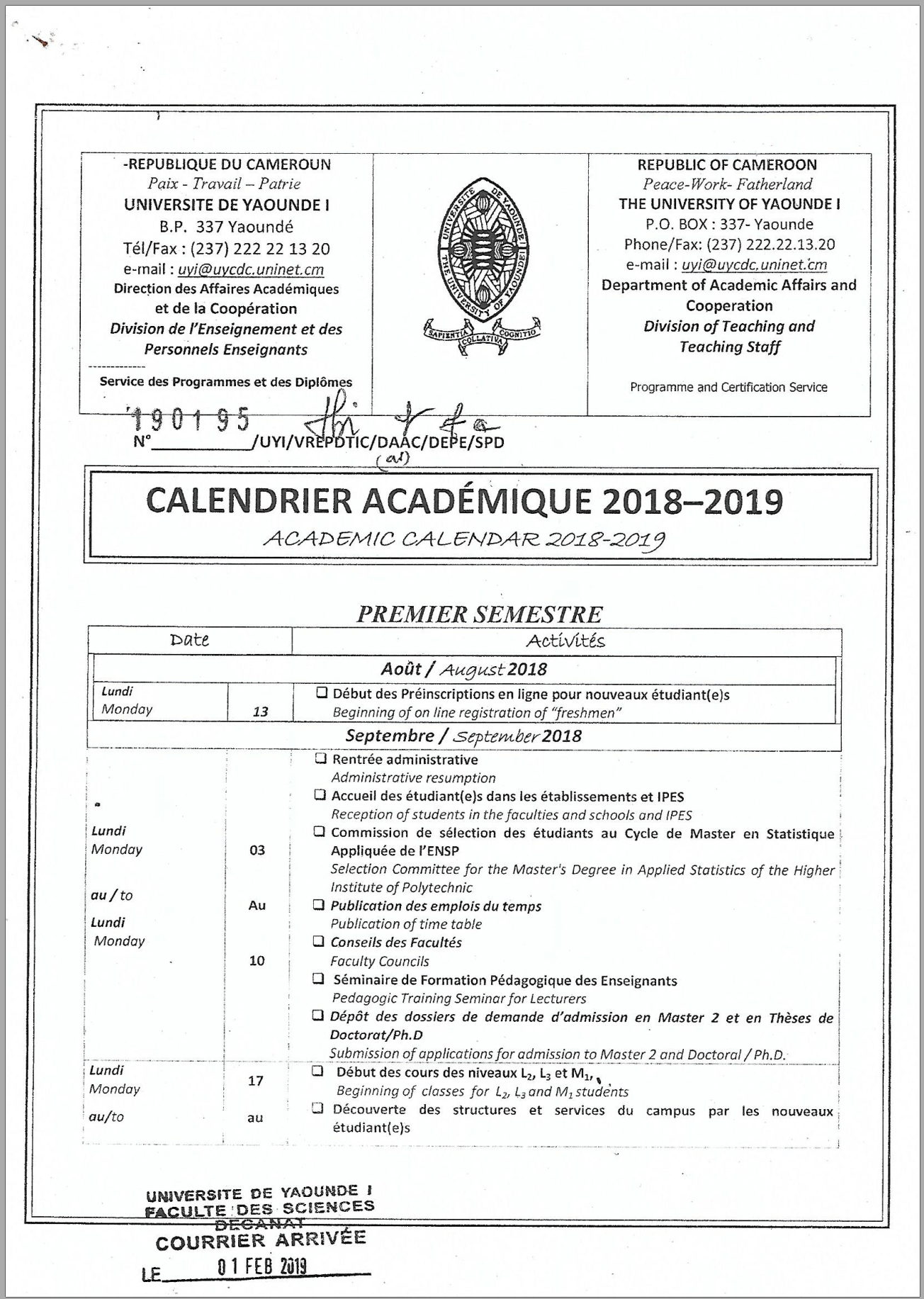 Academic Calendar University of Yaounde I 2018-2019