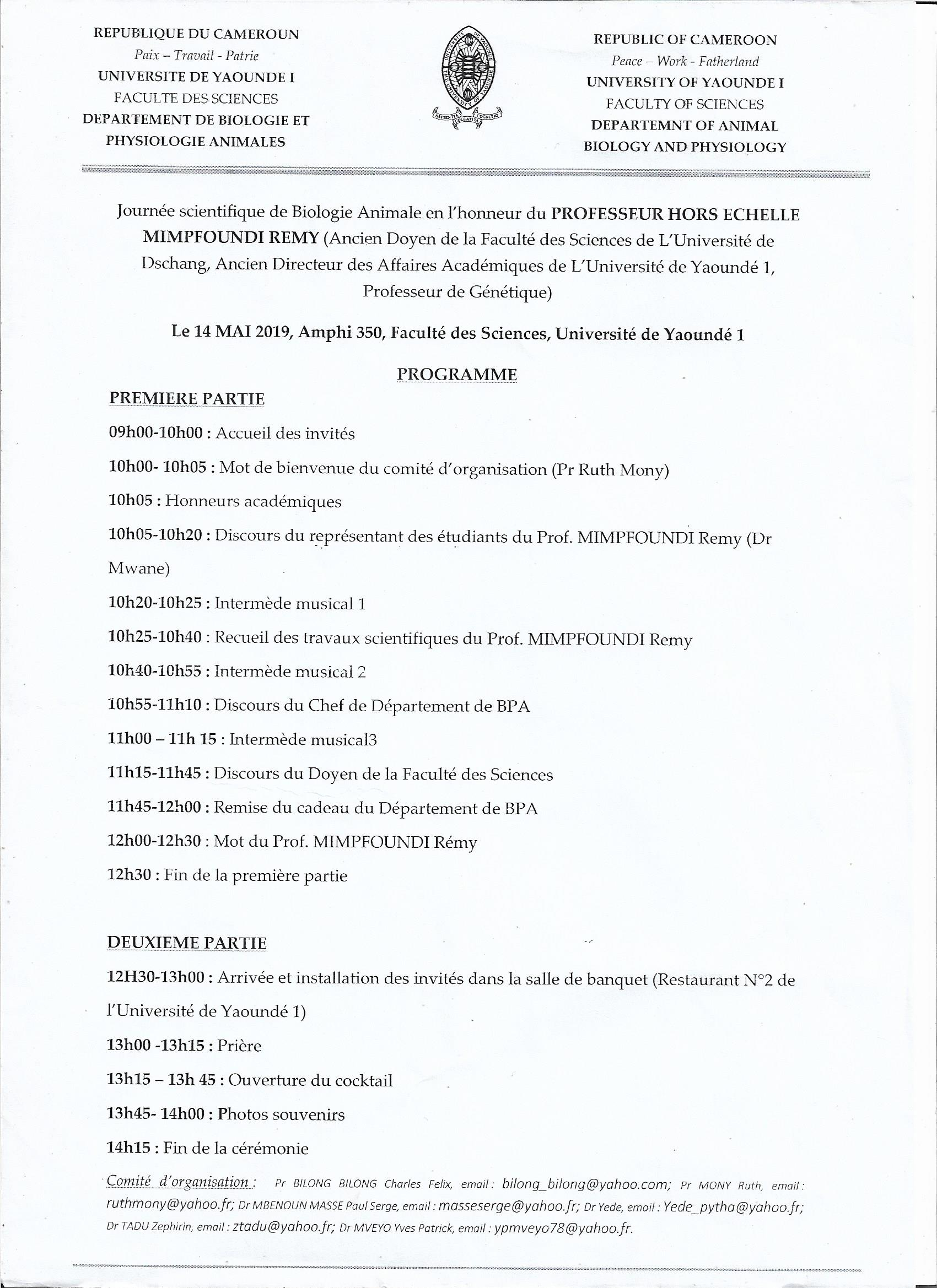 Scientific Day of Animal Biology in Honor of Professor MIMPFOUNDI Remy