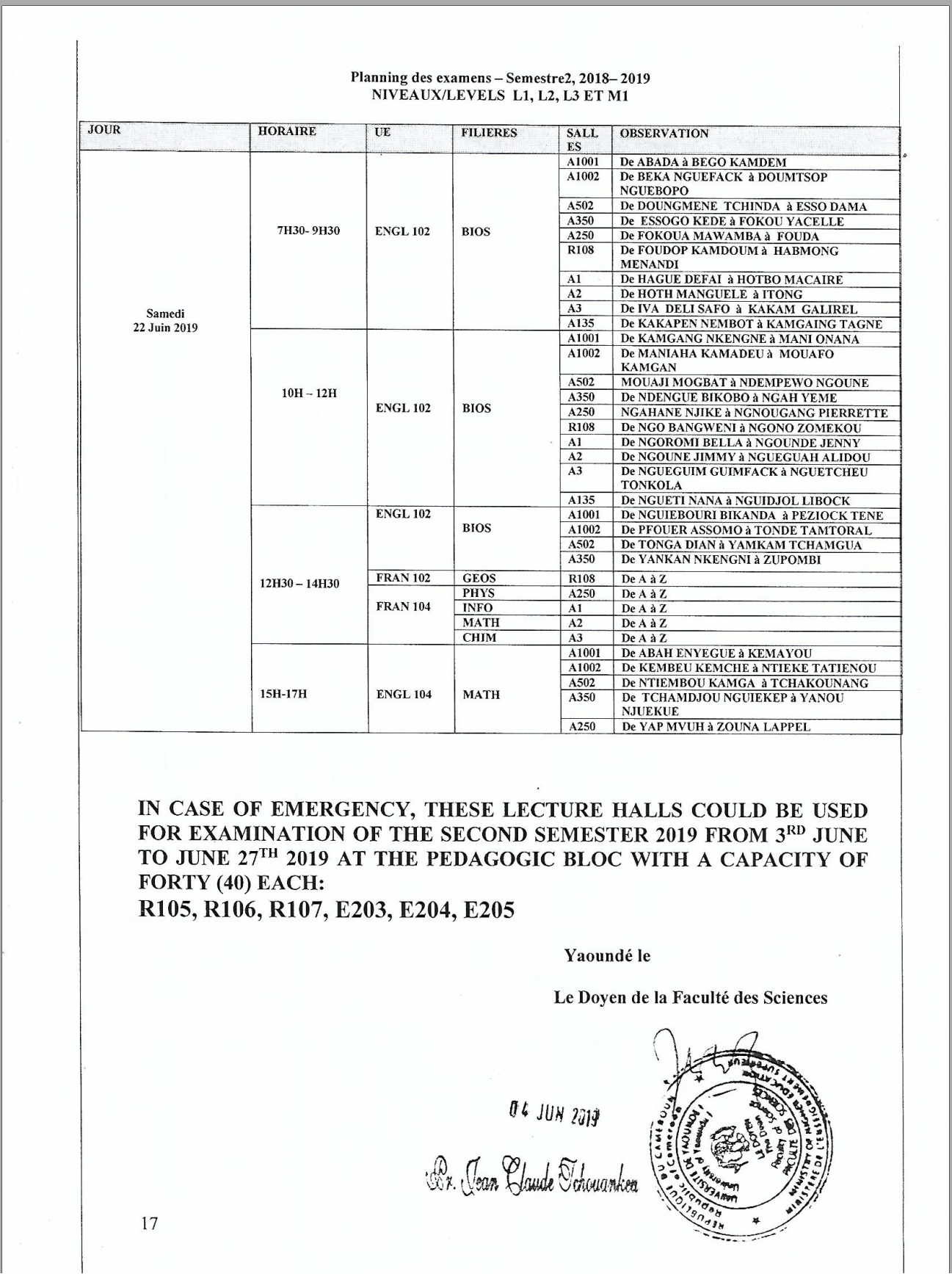 Examination Schedule of the Faculty of Science Second Semester 2018-2019