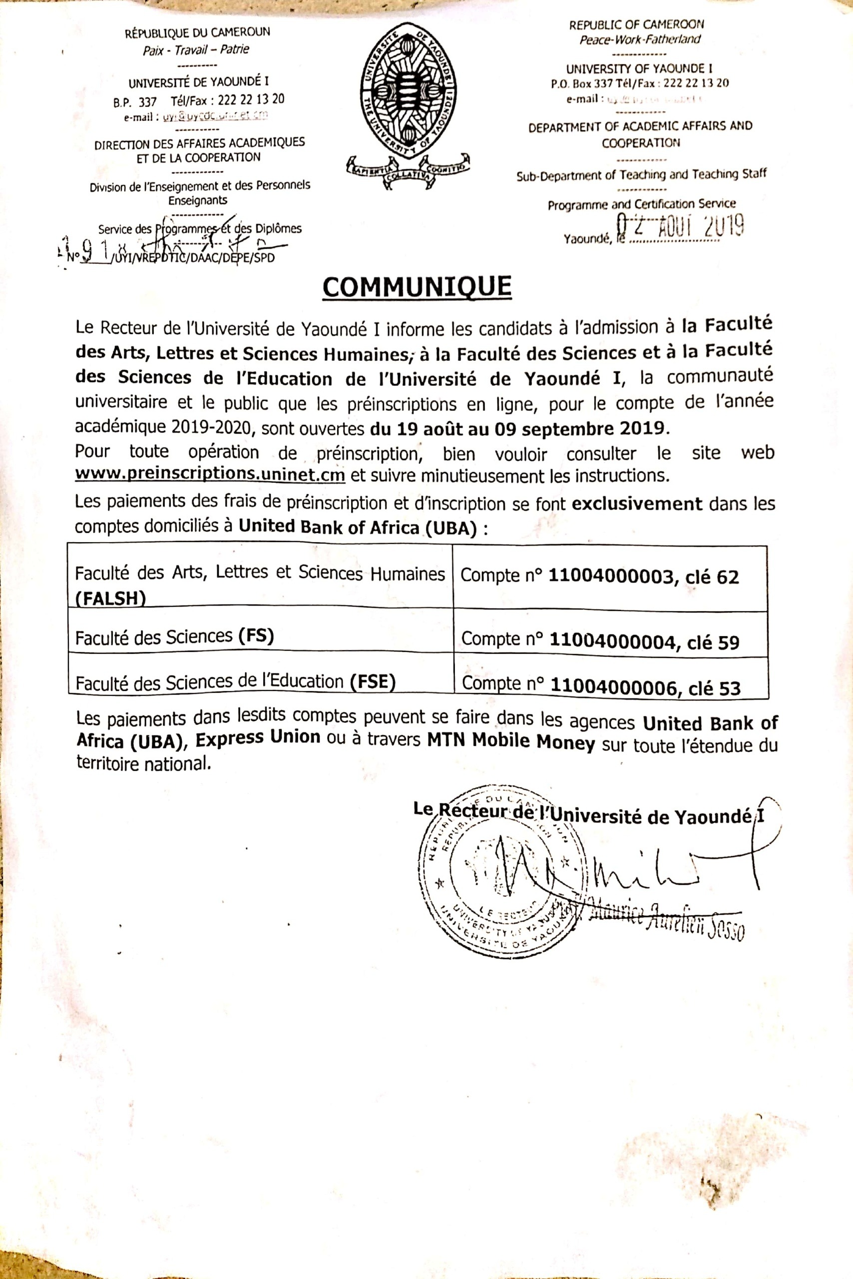 Press Release Registration at the Faculty of Sciences of the University of Yaoundé 1 ,  2019-2020