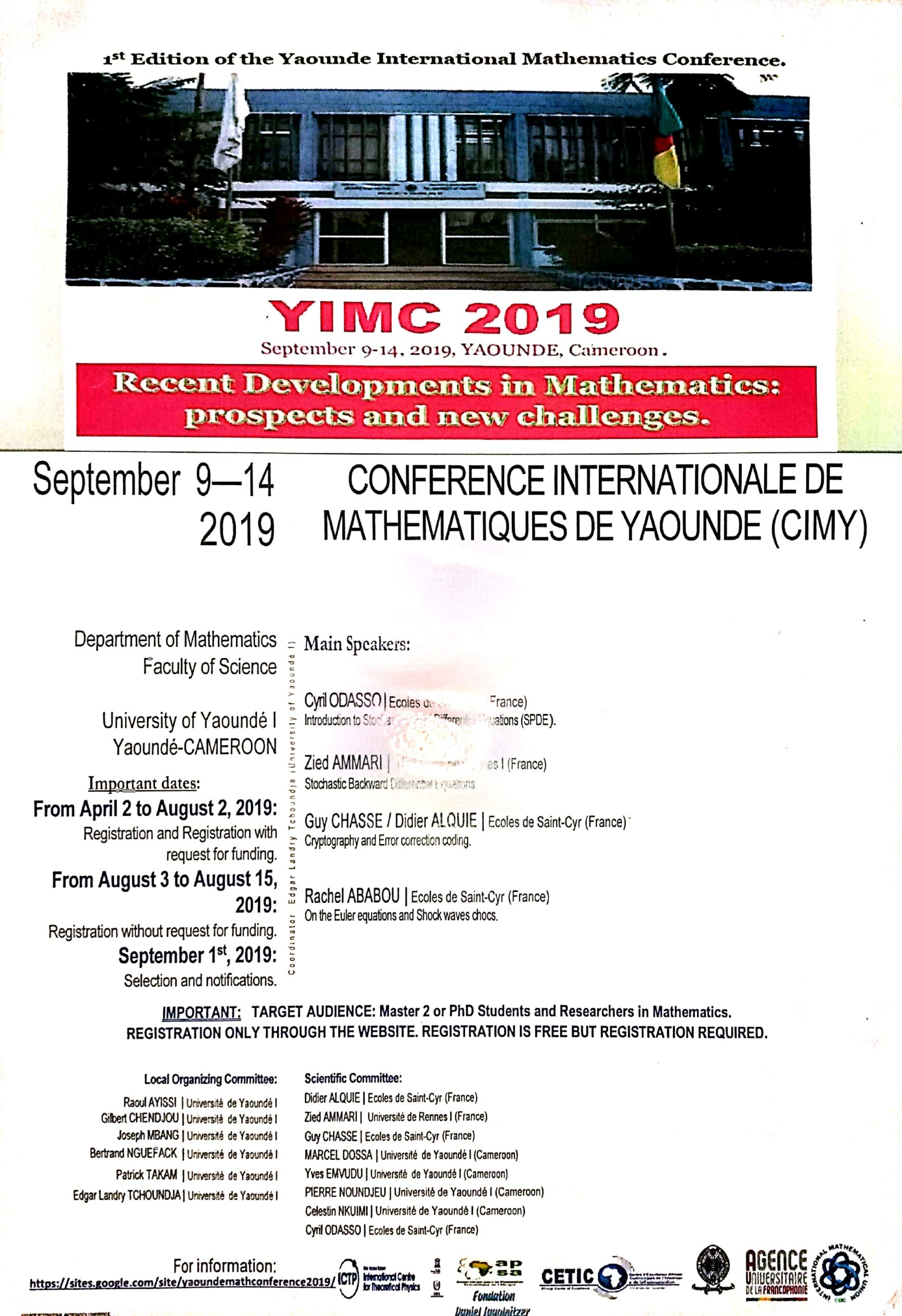 1ere Conference Internationale de Mathématique de Yaoundé (CIMY 1)
