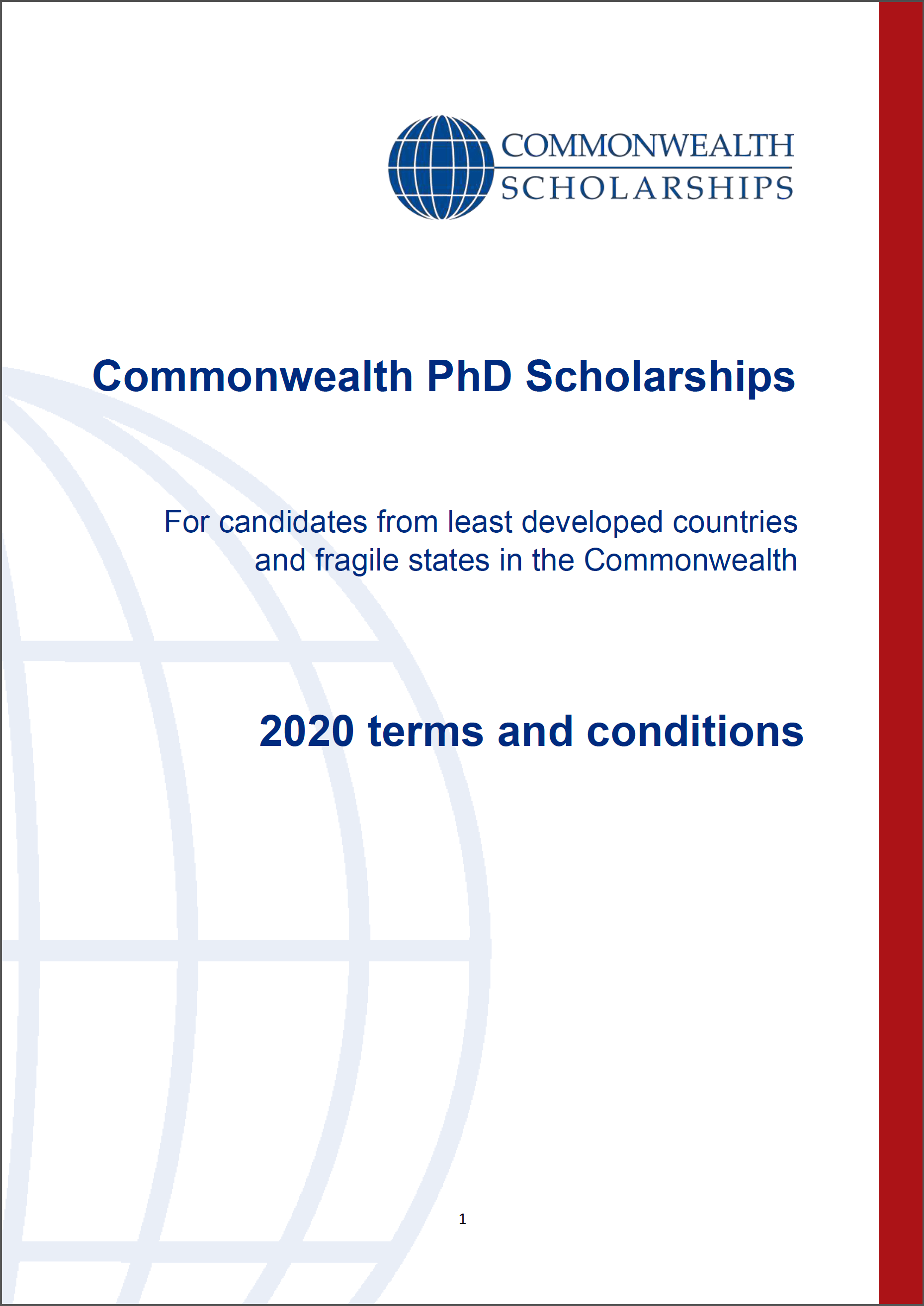 COMMONWEALTH SCHOLARSHIPS 2019