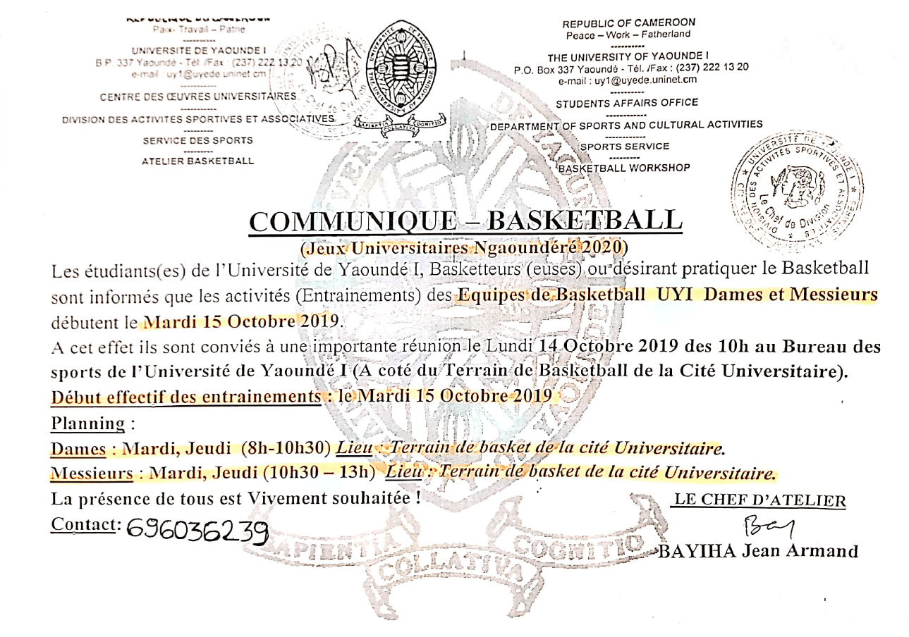 PRESS RELEASE OF BASKETBALL (University Games Ngaoundéré 2020)