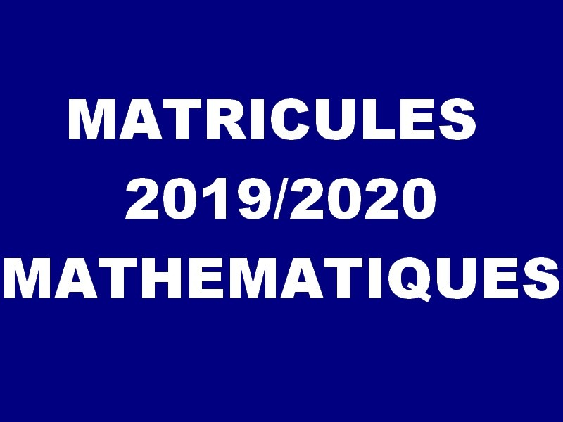 Matricles list for the academic year 2019/2020, MATHEMATICS