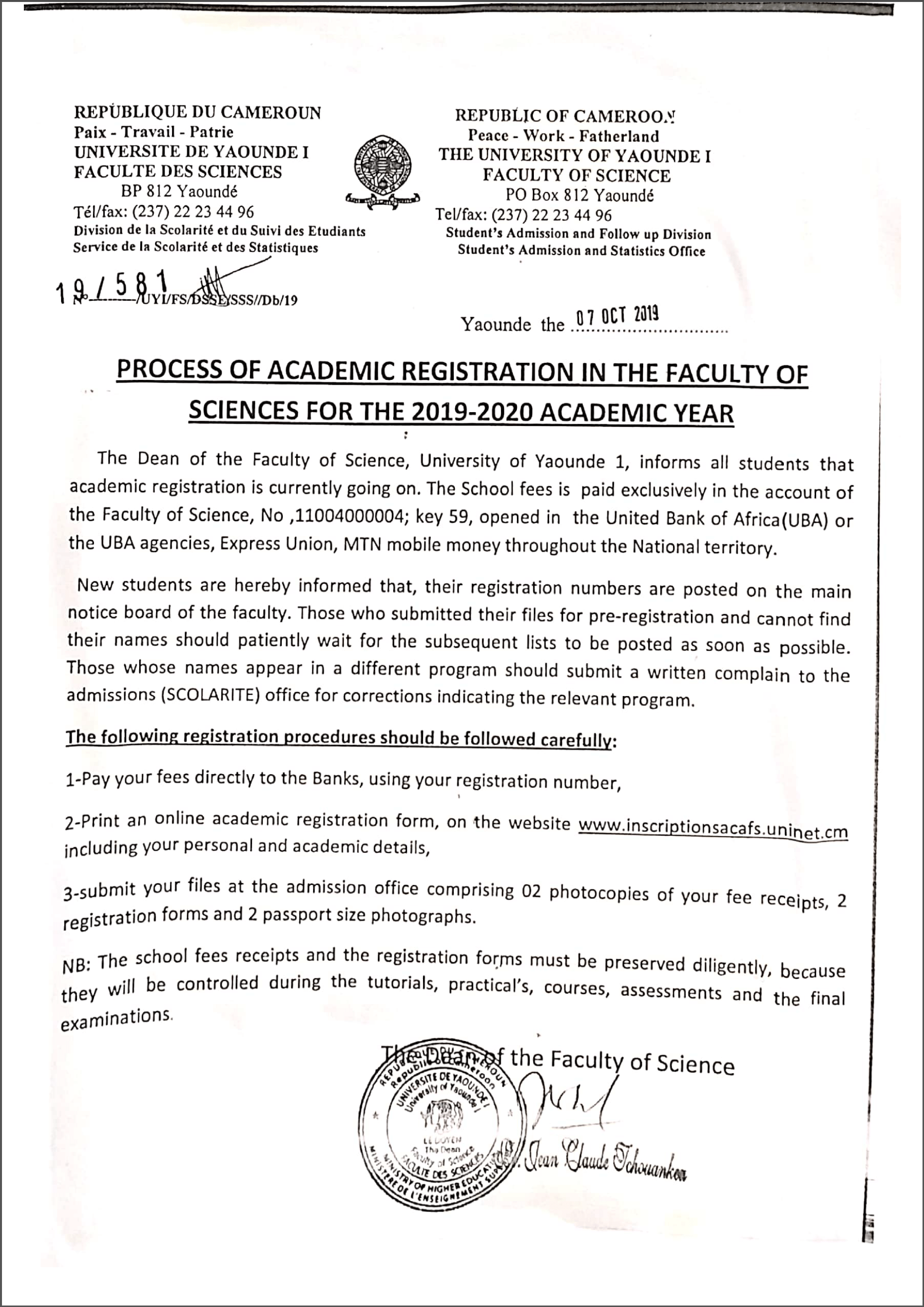 PROCESS OF ACADEMIC REGISTRATION IN THE FACULTY OF SCIENCES FOR THE -2019-2020 ACADEMIC YEAR