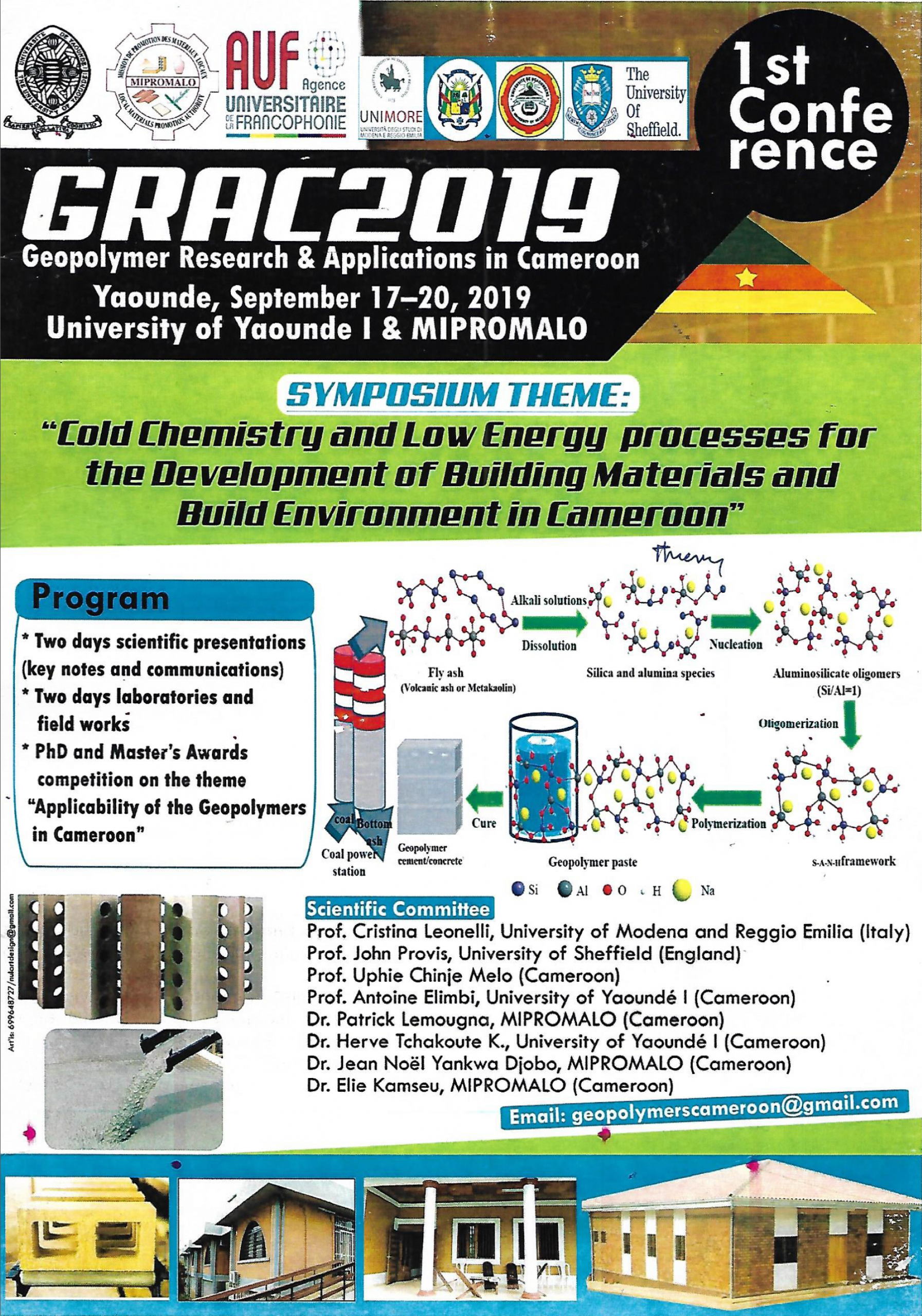 Geopolymer Research & Application in Cameroon, Yaoundé, September 17-20, 2019
