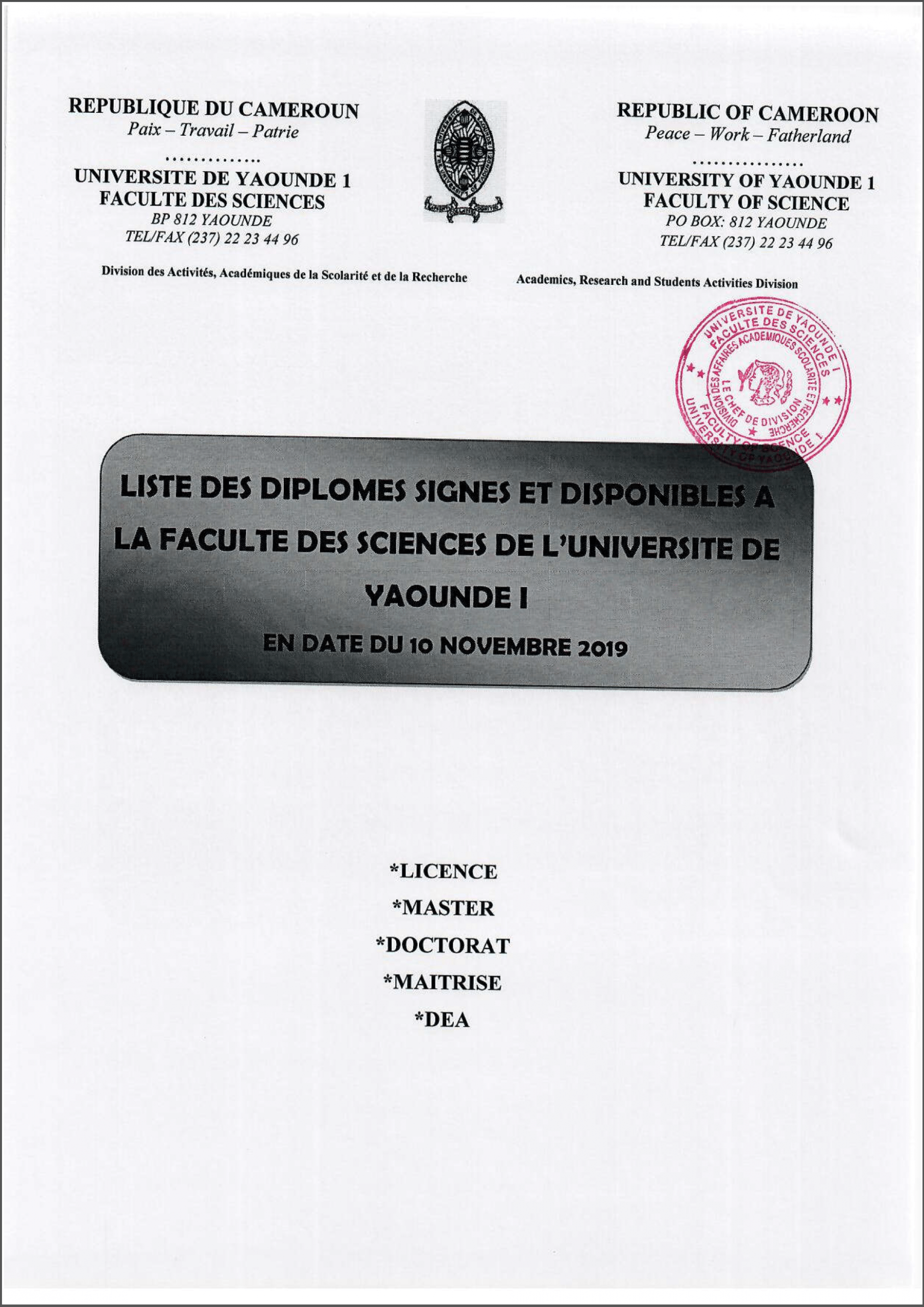 List of Signed and Available Diplomas of the Faculty of Sciences