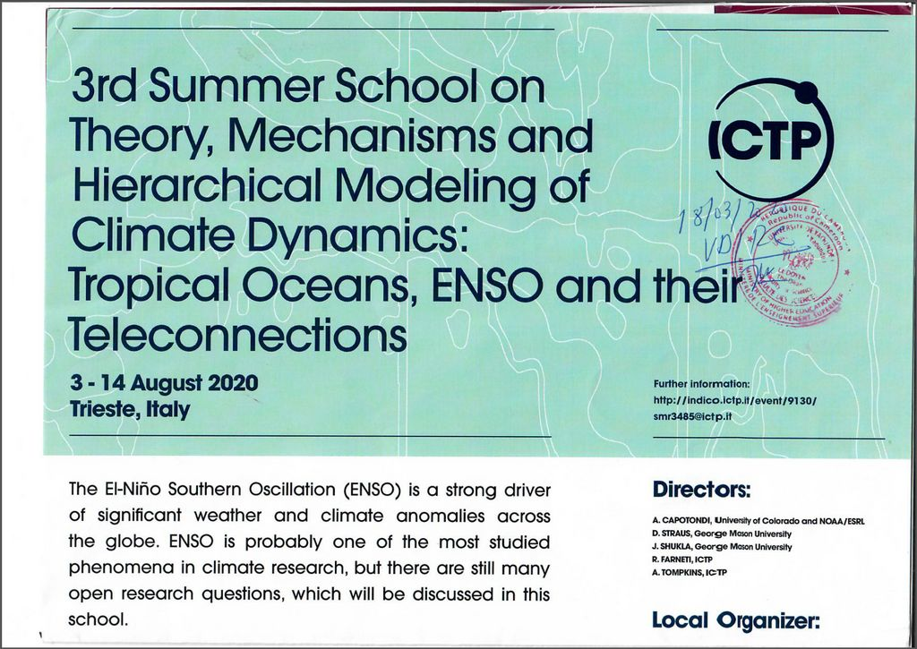 3rd Summer School on Theory, Mechanisms ans Hierarchical Modeling of Climate Dynamics: Tropical Oceans, ENSO and thier Teleconnections