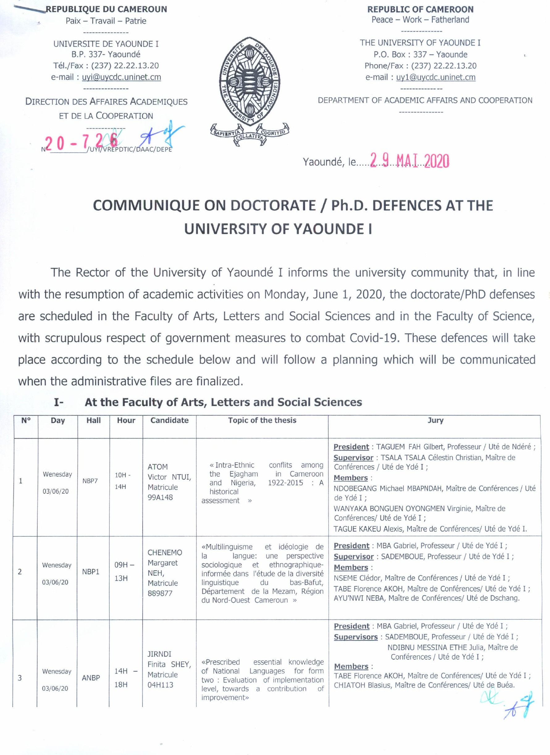 COMMUNIQUE SUR LES SOUTENANCES DE THESE DE DOCTORAT/Ph.D A L'UNIVERSITE DE YAOUNDE I