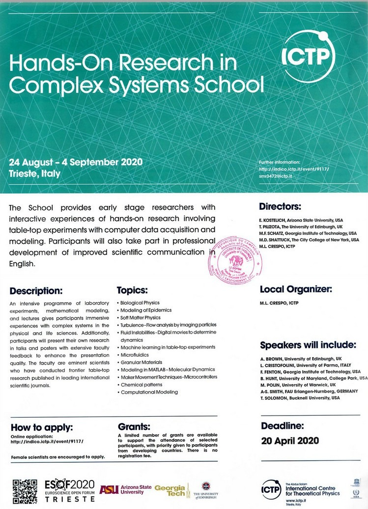 Hands-On Research in Complex Systems School