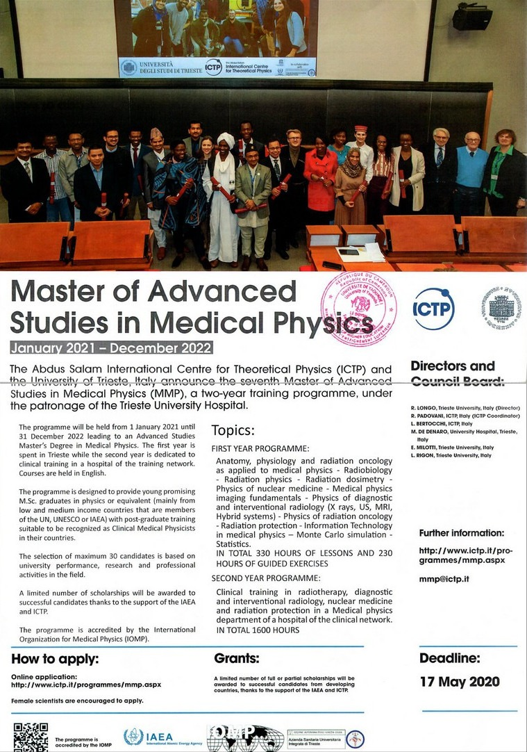 Master of Advanced Studies In Medical Physics, Scholarships