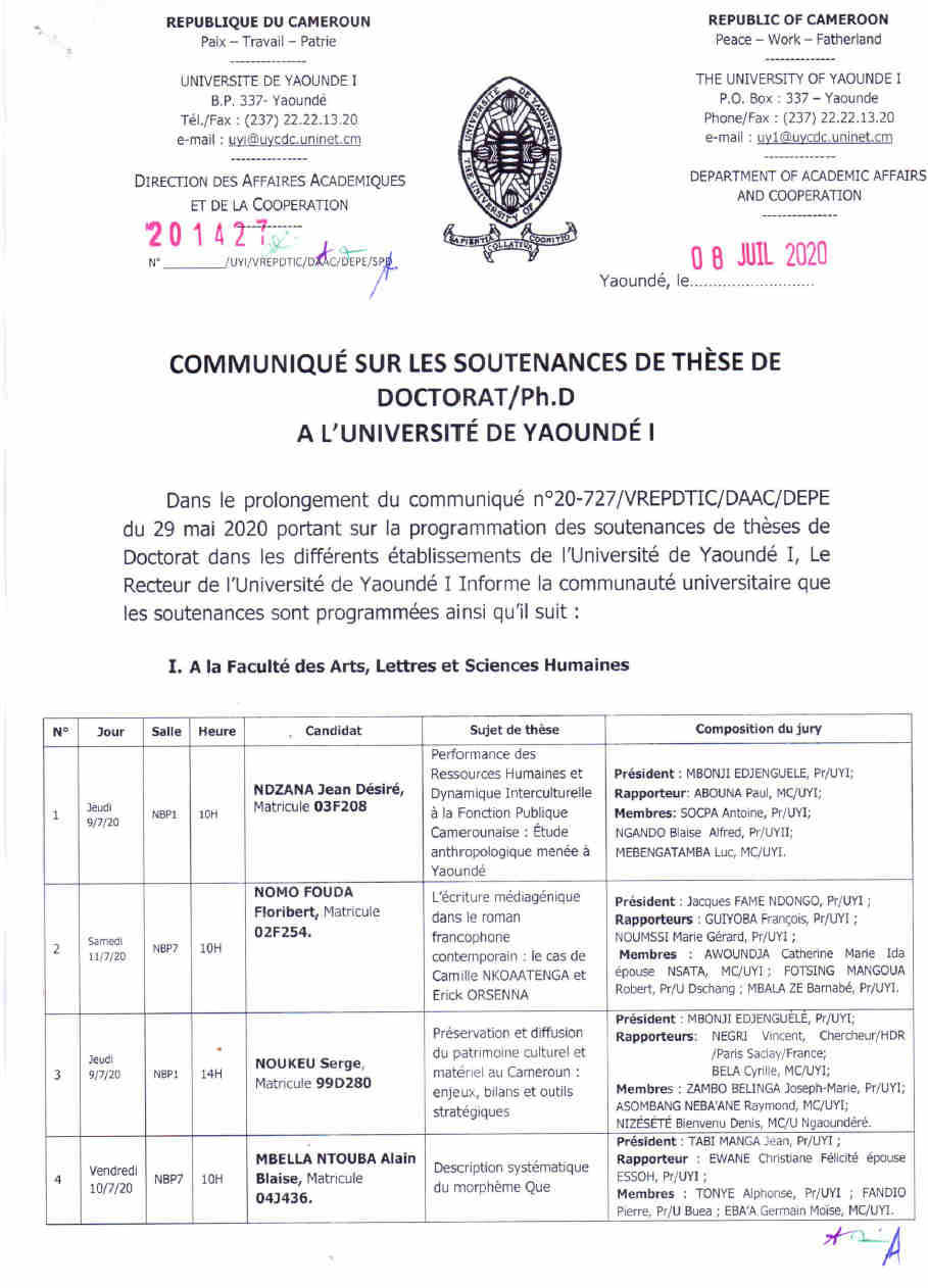 5th Announcement on the Doctoral / Ph.D These defenses program at the University of Yaoundé I