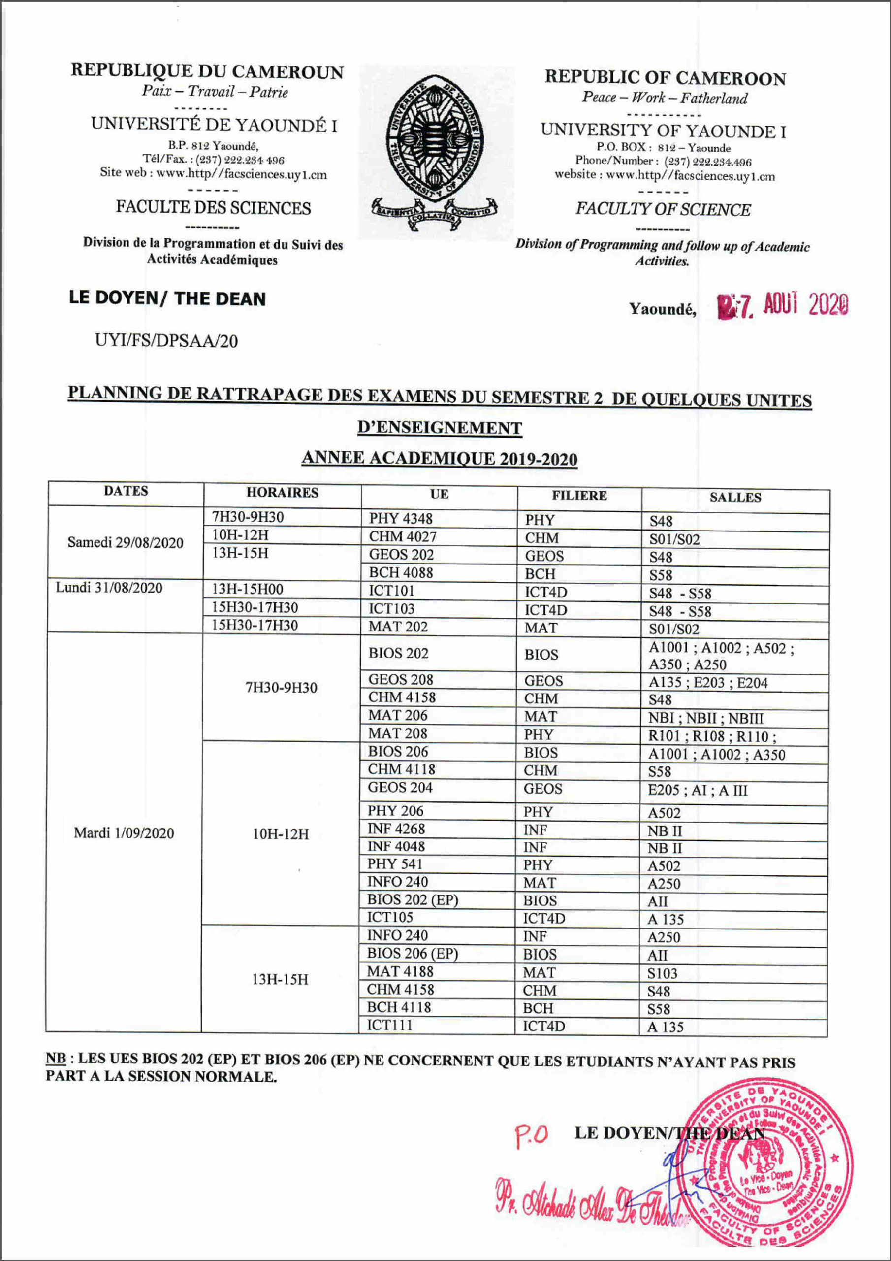 SCHEDULE FOR THE RETURN OF THE EXAMS OF SEMESTER 2 L2 2019-2020