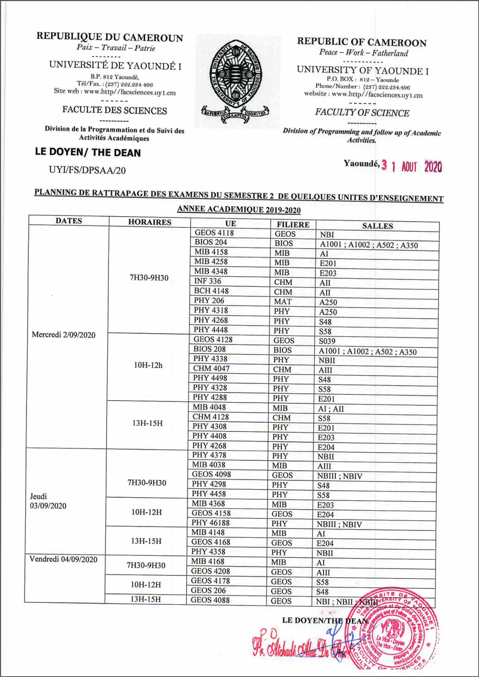 TAKE-UP SCHEDULE FOR SEMESTER 2 L2 EXAMS of some EU 2019-2020